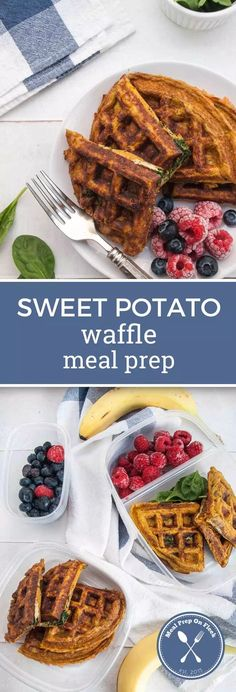 Sweet Potato Waffle Meal Prep - Meal Prep on Fleek™️ We are declaring this Sweet Potato Waffle Meal Prep recipe the ultimate in breakfast ideas! Two crispy sweet potato waffles filled with eggs and fresh spinach. Paleo Meal Prep, Easy Meal Prep, Easy Meals, Keto Meal, Work Meals, Paleo Meals, Food Prep, Crispy Sweet Potato, Sweet Potato Waffles
