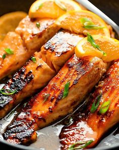 Crispy Honey Orange Glazed Salmon fillets are pan-fried in the most beautiful honey-orange-garlic sauce, with a splash of soy for added flavour! Where do I start with these Honey Orange Glazed Salmon fillets? Orange Marmalade Salmon Recipe, Orange Glazed Salmon, Orange Salmon Recipes, Orange Juice, Salmon Steak Recipes, Wild Salmon Recipe, Orange Chicken, Salmon Dishes, Fish Dishes