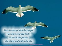 Time is always with the people who have courage to fly,   Not with the people who stand and watch the sky.