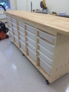 Ikea Rolling Storage Behemoth: In our school's new maker space we had a storage problem. We needed lots of storage, but needed to maximize countertop real estate and mobility My solution is this Ikea Storage Behemoth. Workshop Storage, Workshop Organization, Craft Room Storage, Garage Organization, Garage Storage, Organization Ideas, Craftroom Storage Ideas, Craft Room Organizing, Ikea Craft Storage