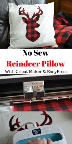 Buffalo Plaid No Sew Reindeer Pillow With The Cricut Maker