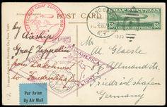 SAF 1930, amerik. Post, 3 Belege, je frankiert mit 65 C., 1,30 $ und 2,60 $ Zeppelinmarke nach Deutschland, alle Stpl., gute Erhaltung Automatically generated translation: SAF 1930, amerik. Post, 3 documents, always franked by 65 C., 1,30 $ and 2,60 $ Zeppelin stamp to Germany, all postmarks, good condition Dealer Hettinger Auctions Auction Minimum Bid: 800.00 EUR