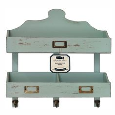 Distressed Rustic Solid Wood Vintage 2 Tier Wall Shelf with Hooks