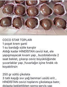 Çikolatalı COCO star topları Turkish Kitchen, Food Words, Cake Cookies, Cake Pops, Tart, Caramel, Deserts, Muffin, Food And Drink