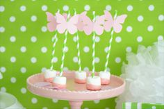 Pink and green butterfly themed party designed by Little Lemonade. http://little-lemonade.com