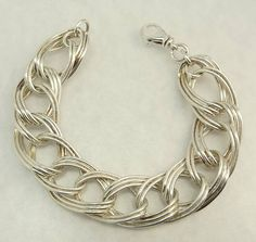 Italy Sterling Silver 925 Bracelet Double Large Link Chain