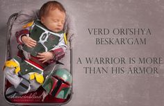 My Baby Mandalorian. My husband made the armor out of foam and this is our Star Wars newborn photoshoot.