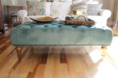 Tufted Ottoman for the Family Room - THE INSPIRED ROOM