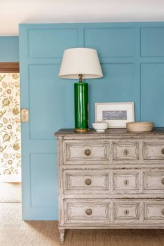 Willow Crossley's Cotswolds Bedroom by Octavia Dickinson, House & Garden UK, Farrow & Ball Stone Blue Farrow And Ball Paint, Farrow Ball, Room Interior, Interior And Exterior, Moschino, Annie Sloan Paints, Teal Walls, Grey Furniture, Blue Rooms