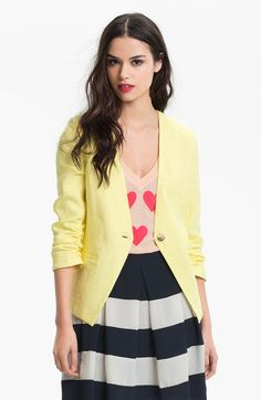 Gibson Yellow Collarless Linen Blazer, i've seen this on someone recently- so cute!