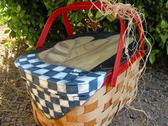 Hand Painted Vintage 1950's Picnic Basket by painterlex on Etsy, $75.00