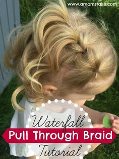 Waterfall Pull Through Braid Tutorial & NUME Giveaway Absolutely adorable hair style for girls! Baby Girl Hairstyles, Braided Hairstyles, Teenage Hairstyles, Hairdos, Trendy Hairstyles, Easy Toddler Hairstyles, Simple Girls Hairstyles, Little Girl Wedding Hairstyles, 1920s Hairstyles
