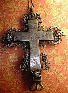 Antique Cross reliquary necklace Shrine sterling...