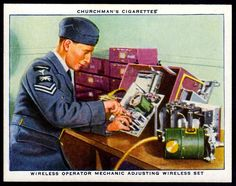 "https://flic.kr/p/NmbRQe | Cigarette Card - Adjusting a Wireless Set | Churchman's cigarettes ""The R.A.F. at Work"" (series of 48 issued in 1937) #17 Wireless operator mechanic adjusting wireless set"