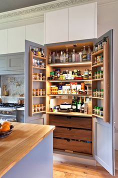 There is no question that designing a new kitchen layout for a large kitchen is much easier than for a small kitchen. A large kitchen provides a designer with adequate space to incorporate many convenient kitchen accessories such as wall ovens, raised. Kitchen Pantry Design, Diy Kitchen Storage, Home Decor Kitchen, Interior Design Kitchen, New Kitchen, Kitchen Ideas, Kitchen Storage Furniture, Country Kitchen, 10x10 Kitchen