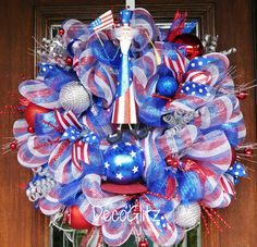 Whimsical UNCLE SAM PATRIOTIC Wreath with Lights by decoglitz