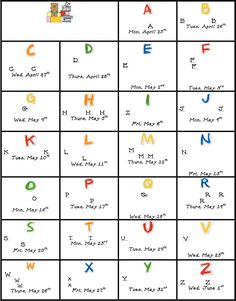 ABC countdown ideas for last 26 days of school.