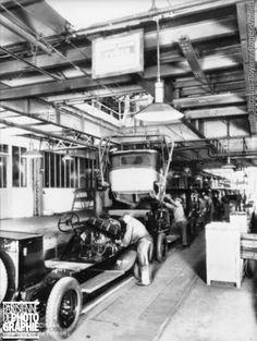 Usines Citroën de Javel. Chaîne de finition de voitures. Paris, 1931.
