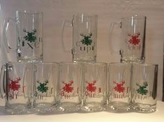 Large Beer Mug Steins Christmas Reindeer Dasher Dancer Prancer Vixen Comet Cupid Donner Blitzen Rudolph Holiday gift set or individual mugs by 1ArtsyVixen on Etsy