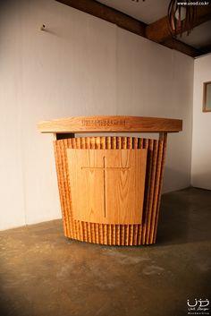 Wood church pulpit -  PODIUM, Pulpit, Lectern, Prarie Style  핸드메이드 오크 강대상  by unitdesign