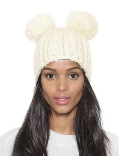 White Twisted Ball Knit Hat 12.00
