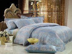 Queen Size Duvet Cover Sheets Set, Fountain-Blue