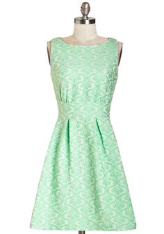 Top of the Vine Dress. A garden party, a luncheon, even the office - wherever you decide to wear this monochromatic mint dress by Darling, youre sure to host a top of the line look. #mint #modcloth