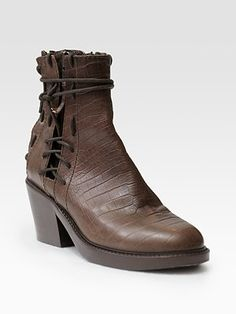 Haider Ackermann Crocodile-Print Leather Lace-Up Ankle Boots