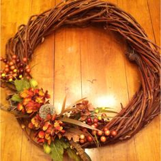 Beautiful Fall grapevine wreath.