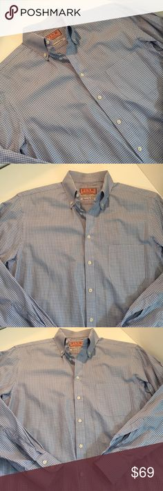"""Thomas Pink Micro Plaid Blue Button Down Collar Thomas Pink Micro Plaid Blue Button Down Collar, Oxford Shirt. Superfine cotton, made in Ireland. Excellent condition. 22"""" from underarm to underarm, 32"""" from back of collar to hem. Longer by 2"""" at back. Offers always warmly received. Thomas Pink Shirts Dress Shirts"""