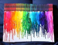 101 Girly Things: DIY Melted Crayon Canvas Art