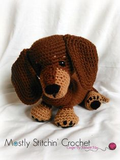 Dachshund crochet pattern I grew up with a Dachshund at my side. I used my wonderful childhood memories as inspiration for Dash. Cute and loveable, with a long sleek body and floppy ears, this pattern Crochet Amigurumi, Amigurumi Patterns, Amigurumi Doll, Crochet Dolls, Crochet Dog Patterns, Cute Crochet, Crochet Crafts, Crochet Projects, Diy Crafts