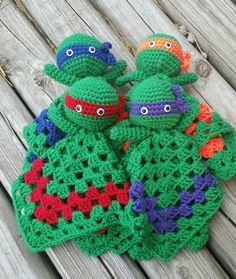 Items similar to Teenage mutant ninja turtles crochet lovey doll crochet/ amigurumi/ fandom on Etsy Crochet Security Blanket, Crochet Lovey, Lovey Blanket, Crochet Beanie, Crochet Gifts, Cute Crochet, Baby Blanket Crochet, Crochet For Kids, Crochet Dolls