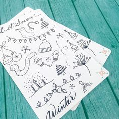 Winter Doodle Stickers by BohoBerryPaperie on Etsy