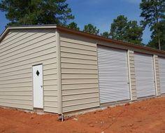 Beige garage with vertical roof - Elite Metal Structures Shop Buildings, Metal Buildings, Metal Shop Building, Agricultural Buildings, Metal Garages, Metal Structure, Building Plans, Garage Doors, Shed