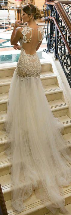 Pearl draped open back lace mermaid wedding dress