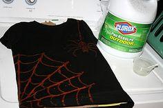 Spider Web t-shirt using bleach and a q-tip!
