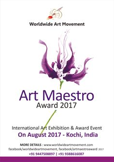 """We are conducting an event named   """"ART MAESTRO AWARD 2017"""" We are inviting entries (Drawing, Painting, Print Making & Sculpture)  from artists who like to join the event.  The best entry will select for ART MAESTRO AWARD (Rs. 25,001+Memento+Certificate),  P.J. Paul Memorial Sculpture Award (Rs. 5,001+Memento+Certificate) and Best 10 entries will select for HONORABLE MENTION AWARD (Rs. 2000/- +Memento+Certificate).  All participants will get participation certificate&  brochure."""
