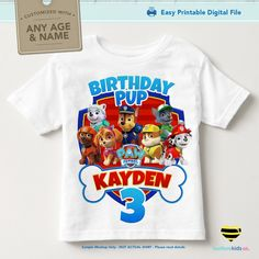 Paw Patrol Iron On Transfer for Birthday Shirt, Printable Image for Any Name…