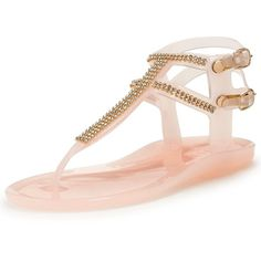 Lipsy Gemma Flat Jelly Sandal ($38) ❤ liked on Polyvore featuring shoes, sandals, jelly shoes, strap flat sandals, nude flat sandals, embellished flat sandals and nude flat shoes