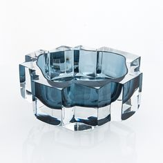 """HELENA TYNELL - Glass sculpture """"Castello"""" 6683 for Riihimäen Lasi Oy, 1960s, Finland. [h. 9,5 cm, w. 17,5 cm]"""