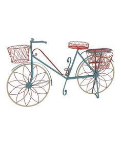 Another great find on #zulily! Blue  Red Metal Bicycle Plant Stand #zulilyfinds
