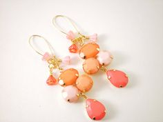 Earrings Orange Creamsicle Cantaloupe Peach Pink Faceted Glass Cabochon Earrings on Etsy, $30.00