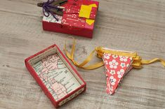 A string of pretty silk ribbon and origami paper bunting | Lobster and Swan