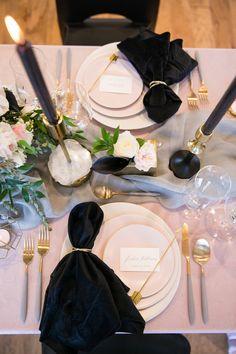 Blush and Black Wedding Inspiration via Rocky Mountain Bride Blush Pink And Black Wedding, Blush Wedding Colors, Blush Pink Weddings, Wedding Blush, Geek Wedding, Purple Wedding, Floral Wedding, Lace Wedding, Wedding Centerpieces