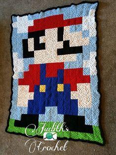 Crochet Mario 8-bit blanket by crochet-hooker