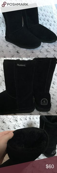 BearPaw Short Boot *protectant included* Suede ankle boots by BearPaw. Condition: worn a few times last fall but in great condition. No flaws  -Very warm for the upcoming winter  -fur interior lining  **Comes with protectant, unused** BearPaw Shoes Winter & Rain Boots