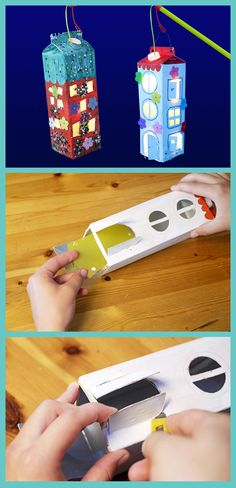 Make lanterns from milk cartons: Photo tutorial - GEOlino - - Laternen aus Milchkartons basteln: Foto-Anleitung Upcycling: That's how you make lanterns from milk cartons Crafts To Sell, Diy And Crafts, Crafts For Kids, Diy Pinterest, How To Make Lanterns, Upcycled Crafts, Photo Tutorial, Creative Kids, Kids And Parenting