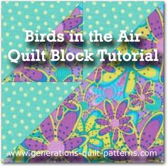 Birds in the Air quilt block tutorial. Both traditional and paper piecing instructions included for 4 different block sizes.