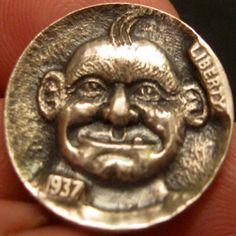GORDON RAISTRICK HOBO NICKEL - HERB - 1937 BUFFALO NICKEL Hobo Nickel, Coin Collecting, Herb, Buffalo, Cactus, Coins, Carving, Money, History
